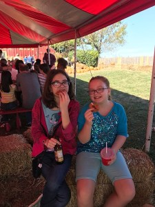 Enjoying our cider doughnuts!