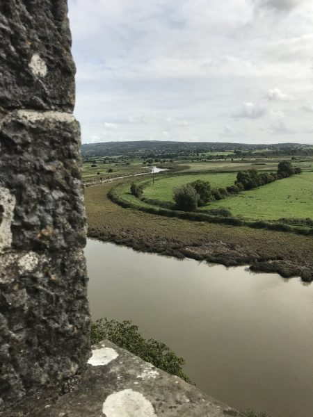 View of Ireland's green fields from castle roof