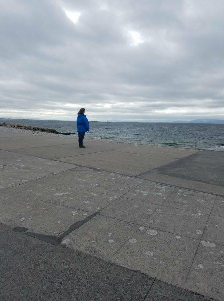 me looking out at Atlantic ocean in Galway