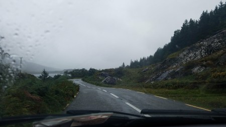 mountain highway in the rain