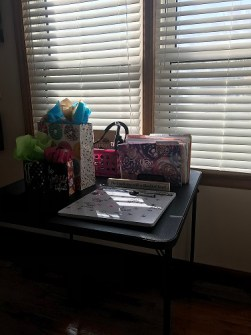 pretty floral folders, my dry erase board calendar, and Leah's birthday gifts