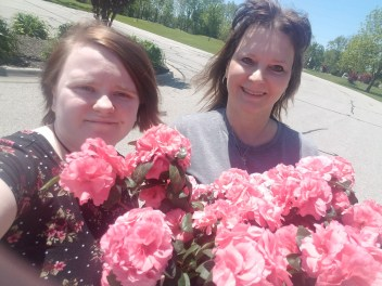 My precious daughter Leah and me and flowers for Mother's Day