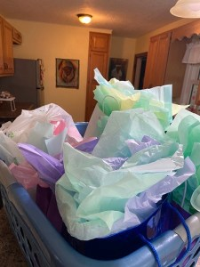 Gift bags with colored tissue paper
