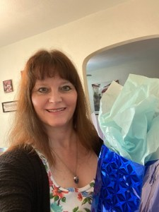 Me with Heather's blue gift bag