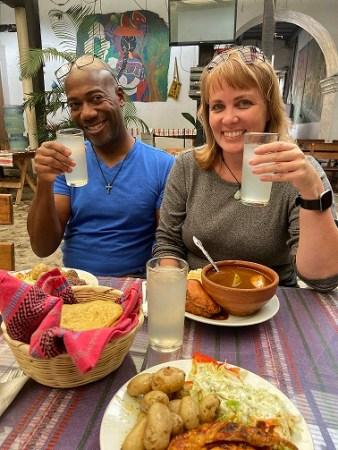 Stan and Kim with lemonade at Guatemalan restaurant
