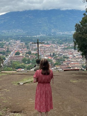 Beth Jones praying for the people and land of Antigua and Guatemala