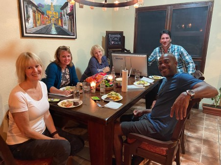 Jennifer, Kim, Jamie, Jorge, and Stan at their little taco dinner party for me