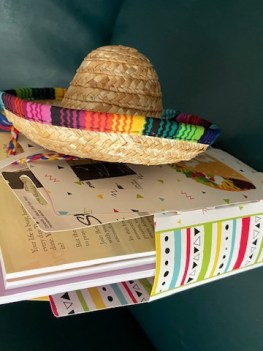 taco-themed gift bag with little sombrero