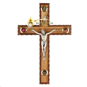 Latin Olive Wood Mahogany Crucifix from Bethlehem