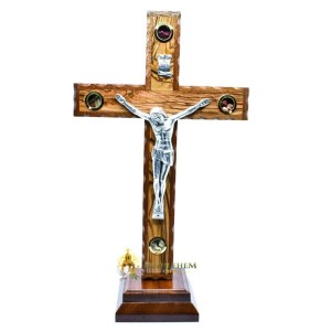Latin Olive Wood Mahogany Crucifix on Base from Bethlehem