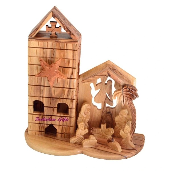 Hand crafted olive wood Music Box Nativity scene from Bethlehem