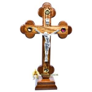 Olive Wood Mahogany Budded Crucifix on Base Medium from Bethlehem