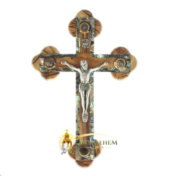 Olive Wood Abalone Small Budded Crucifix with Four Holy Samples from Bethlehem