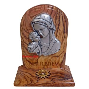 Olive wood, Blessed Mother and Child Standing Plaque with Holy Sample from Bethlehem