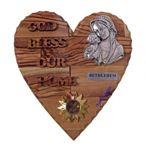 Hand crafted olive wood God Bless Our Home Blessed Mother and Child Small Heart from Bethlehem