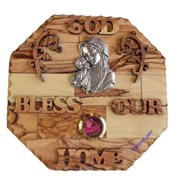 Hand crafted olive wood God Bless Our Home Blessed Mother and Child Small from Bethlehem