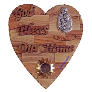 Hand crafted olive wood God Bless Our Home Holy Family Large Heart from Bethlehem