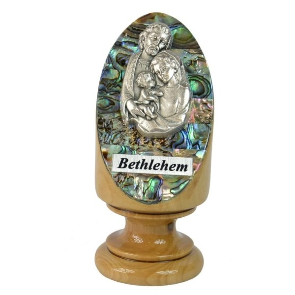 Pedestal Abalone Holy Family, made in Bethlehem from olive wood