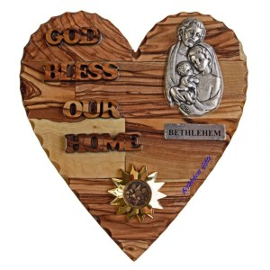 Hand crafted olive wood God Bless Our Home Holy Family Small Heart from Bethlehem