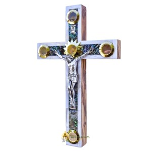 Mother of Pearl Small Latin Crucifix with Five Holy Samples from Bethlehem