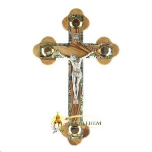 Olive Wood Abalone Medium Budded Crucifix with Holy Samples from Bethlehem