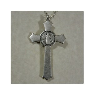 St. Benedict Silver Crucifix Necklace