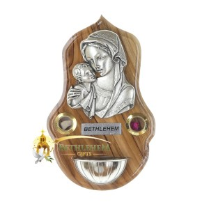 Holy Water Font Blessed Mother and Child with Holy Samples from Bethlehem