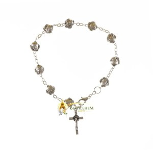 Our Lady of Medjugorje Bracelet with St. Benedict Cross from Bethlehem