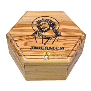 Olive Wood Rosary Box with Holy Face of Jesus from Jerusalem