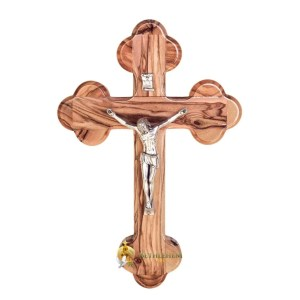 Olive Wood Budded Crucifix from Bethlehem