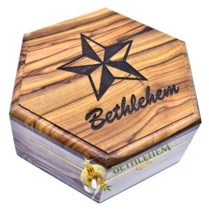Olive Wood Rosary Box with Star of Bethlehem from Bethlehem