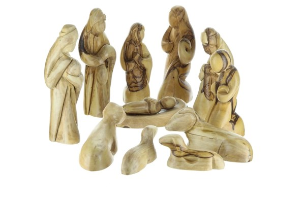 Olive Wood Nativity Figurines from Bethlehem. Abstract design, hand crafted
