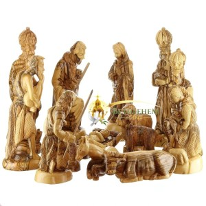 Hand crafted olive Wood Nativity Figurines set, from Bethlehem