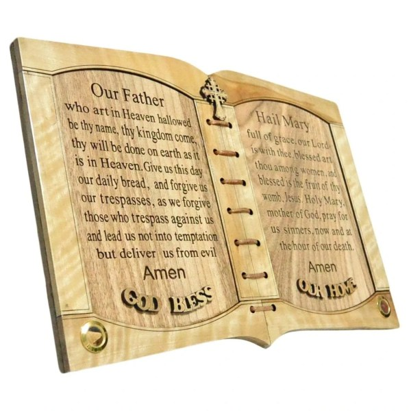 The Lord's Prayer and Hail Mary Prayer with Holy Samples, olive wood from Bethlehem