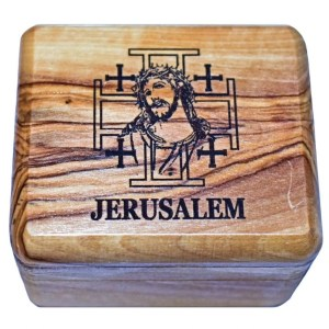 Olive wood rosary box from Bethlehem