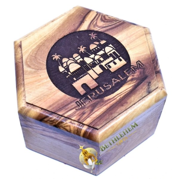 Olive Wood Rosary Box with Jerusalem City from Jerusalem