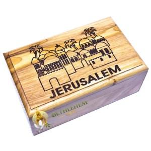 Olive Wood Rosary Box with Jerusalem City from Jerusalem