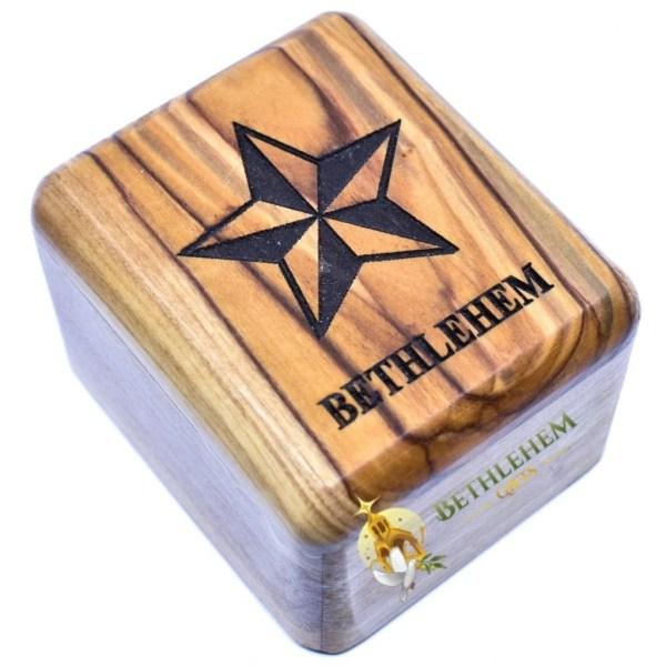 Olive Wood Rosary Box with Star of Bethlehem from Bethlehem