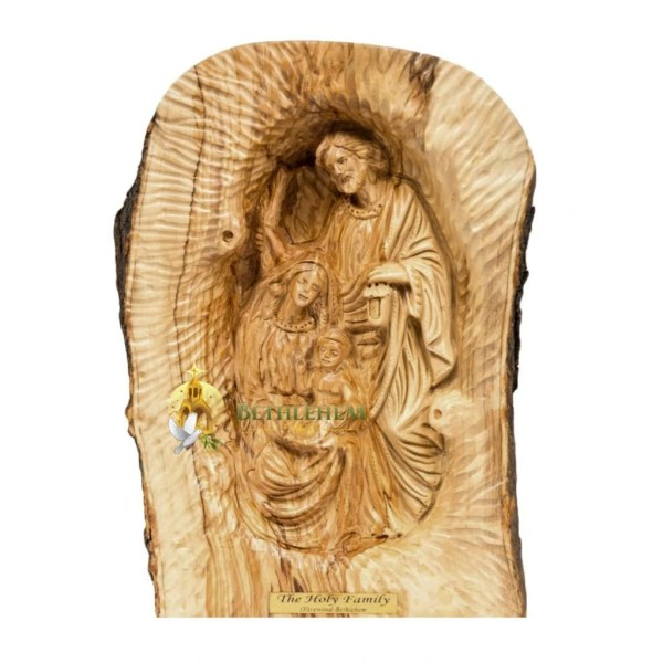 Olive Wood Holy Family in Cave