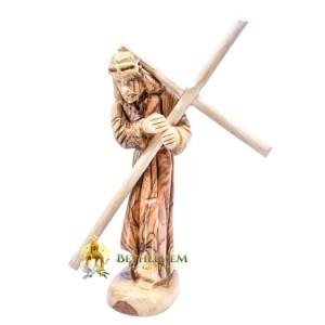 Olive Wood Jesus Holding His Cross from Bethlehem
