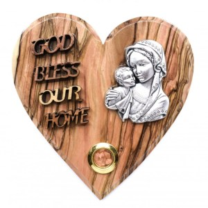 Olive Wood God Bless Our Home Heart-Blessed Mother and Child