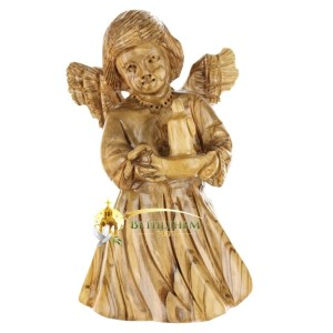 Olive Wood Angel With Candle from Bethlehem