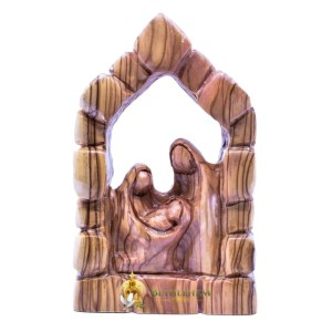 Olive Wood Holy Family at Home from Bethlehem