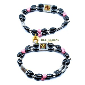 Hematite Oval Beads Bracelet, with Three Holy Icons and Pink Stone Beads Seperators from Bethlehem