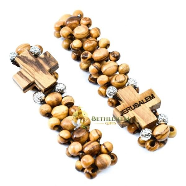 Olive Wood Three Layers Beads, Elastic Bracelet from Bethlehem