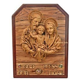 Olive Wood Holy Family God Bless Our Home from Bethlehem