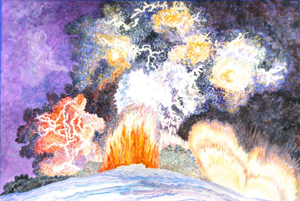 watercolor: Eyjafjallajokull Spewing Fire Icelandic volcano