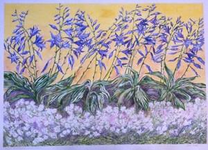 Blue Hosta Carpet of Snow: acrylic painting