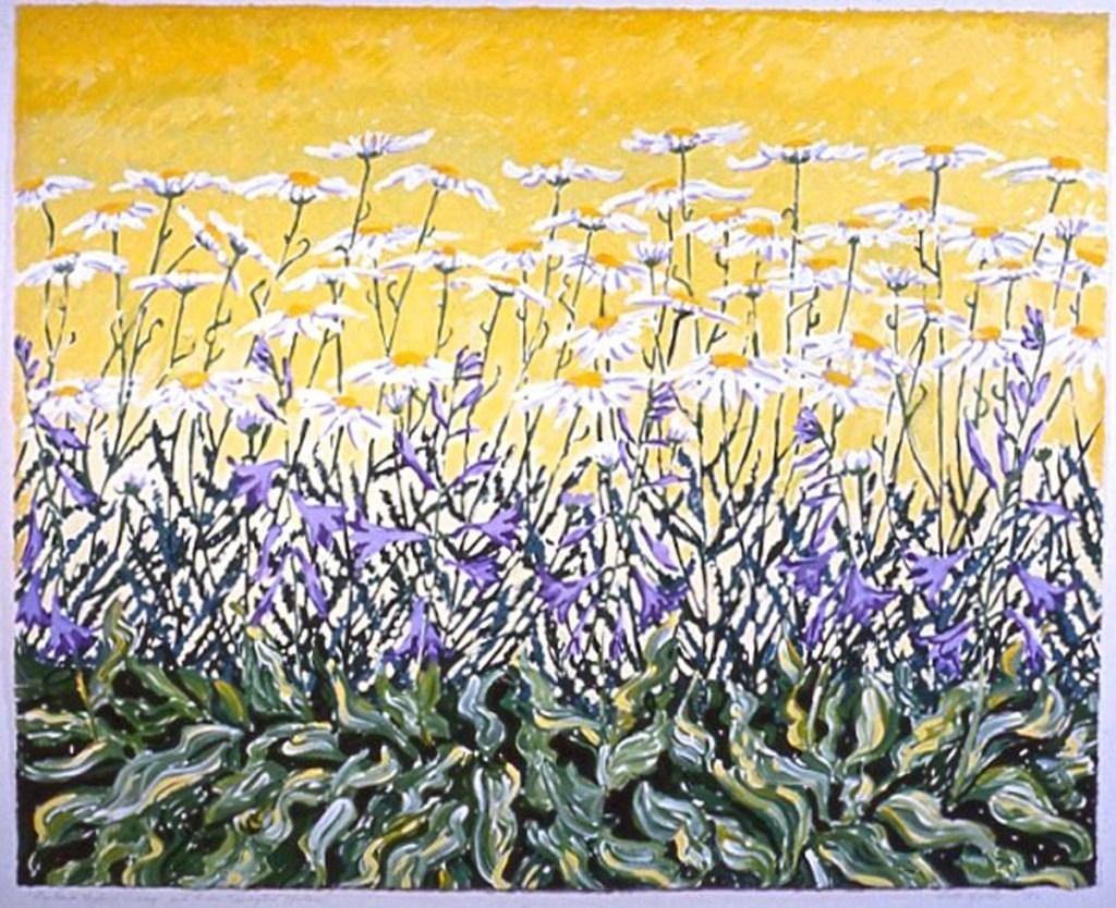 Shasta Daisies, Hostas: acrylic painting