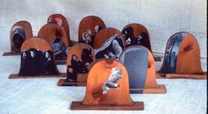 wood sculpture: Tombstones, overall